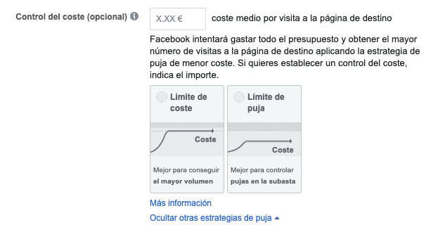 control del coste facebook ads