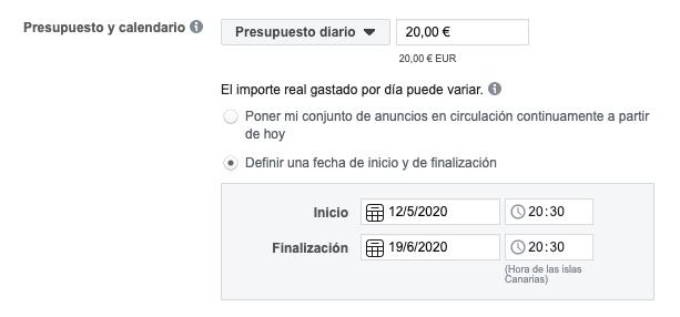 presupuesto diario facebook ads