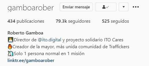 Perfil profesional en Instagram de Roberto Gamboa