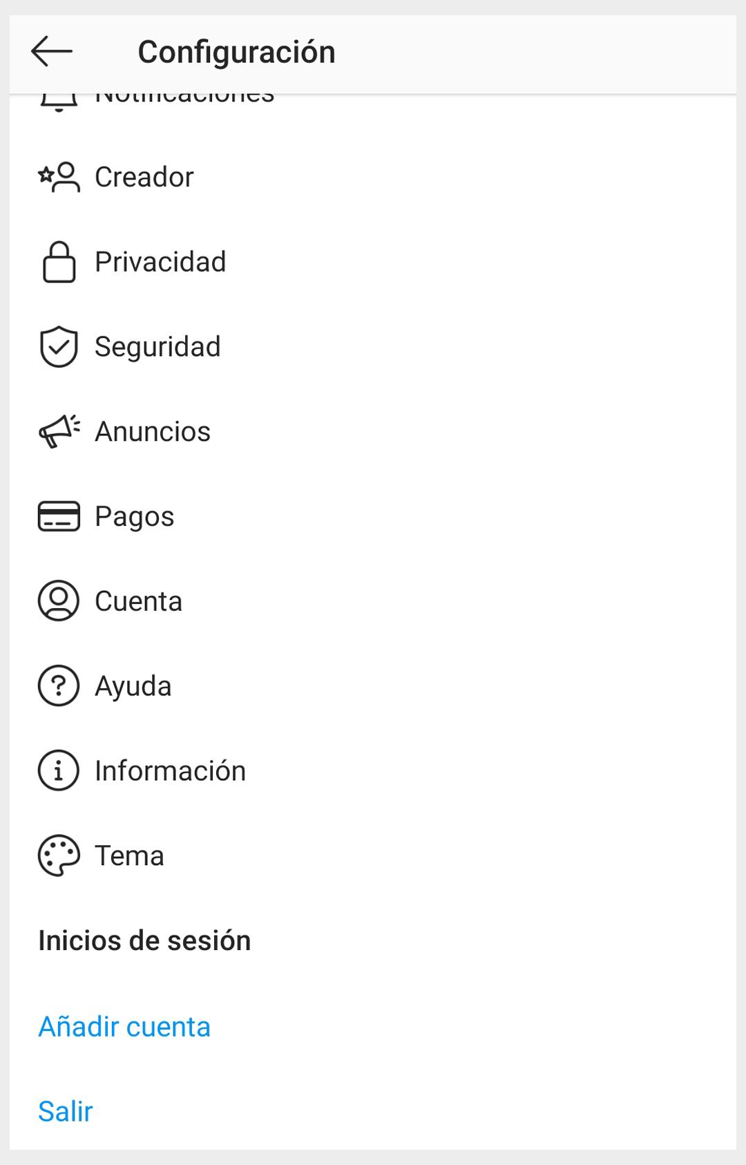 Captura de la configuración del perfil profesional en Instagram para el post de ITO
