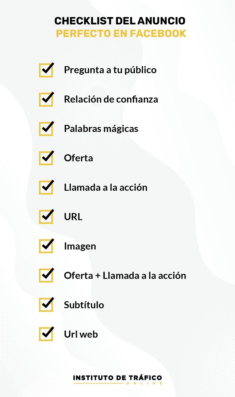 Checklist para el anuncio perfecto en Facebook del post de ITO