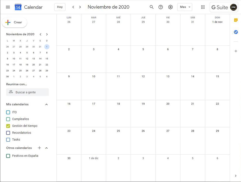 Captura de Google Calendar para el post de gestión del tiempo de ITO