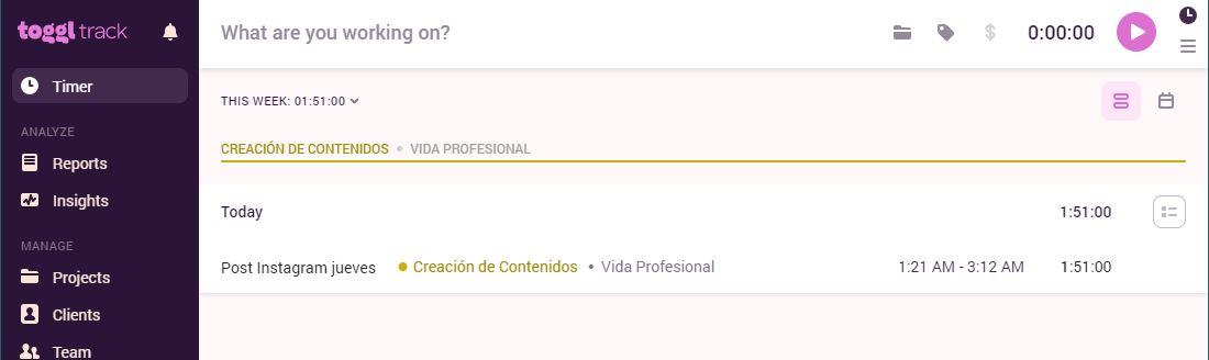 Ejemplo de Toggl para el post gestión del tiempo de Roberto Gamboa