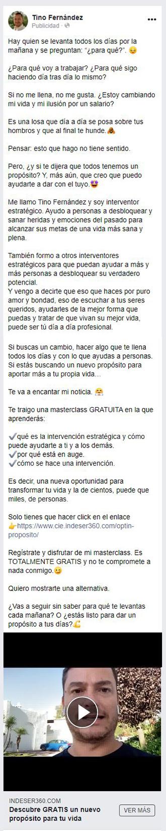 Anuncio de captación de Tino Fernández para el post de retargeting en Facebook Ads de ITO