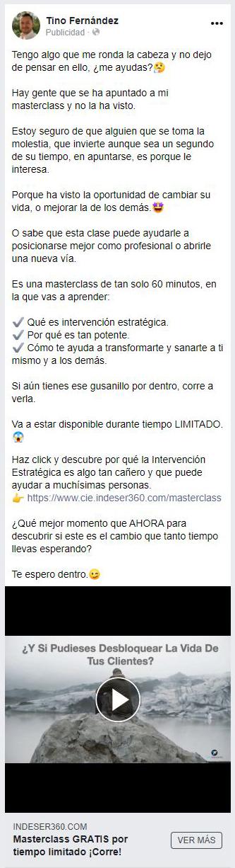 Anuncio de retargeting en Facebook Ads para el post de ITO