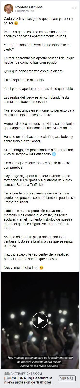Anuncio Roberto Gamboa en para el post de retargeting en Facebook Ads