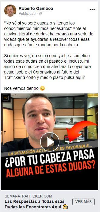 Anuncio de retargeting en Facebook Ads de Roberto Gamboa