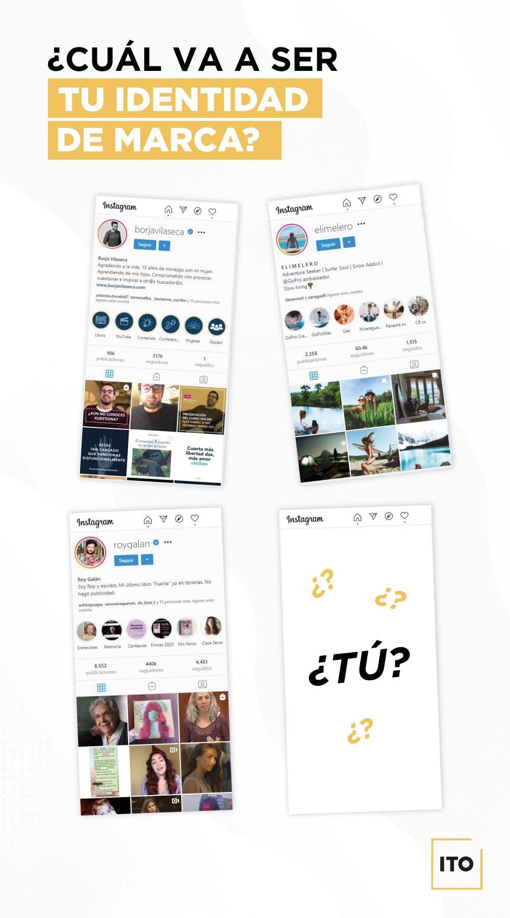 Ejemplos de personalidad atractiva en Instagram del post de ITO