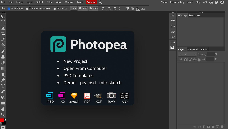 Interfaz de Photopea para el post sobre herramientas digitales del ITO