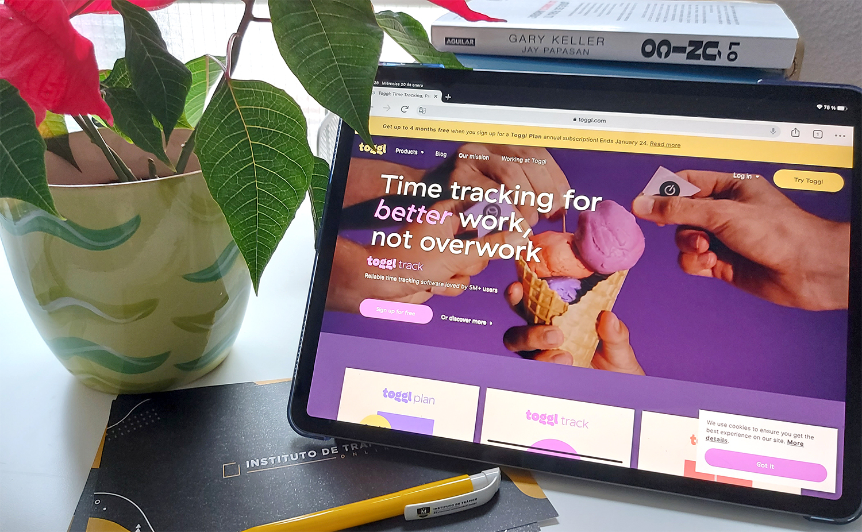 Web de Toggl para el post sobre herramientas digitales del ITO