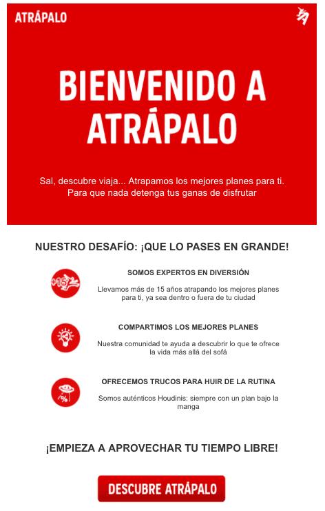 Estrategia de email marketing de Atrápalo