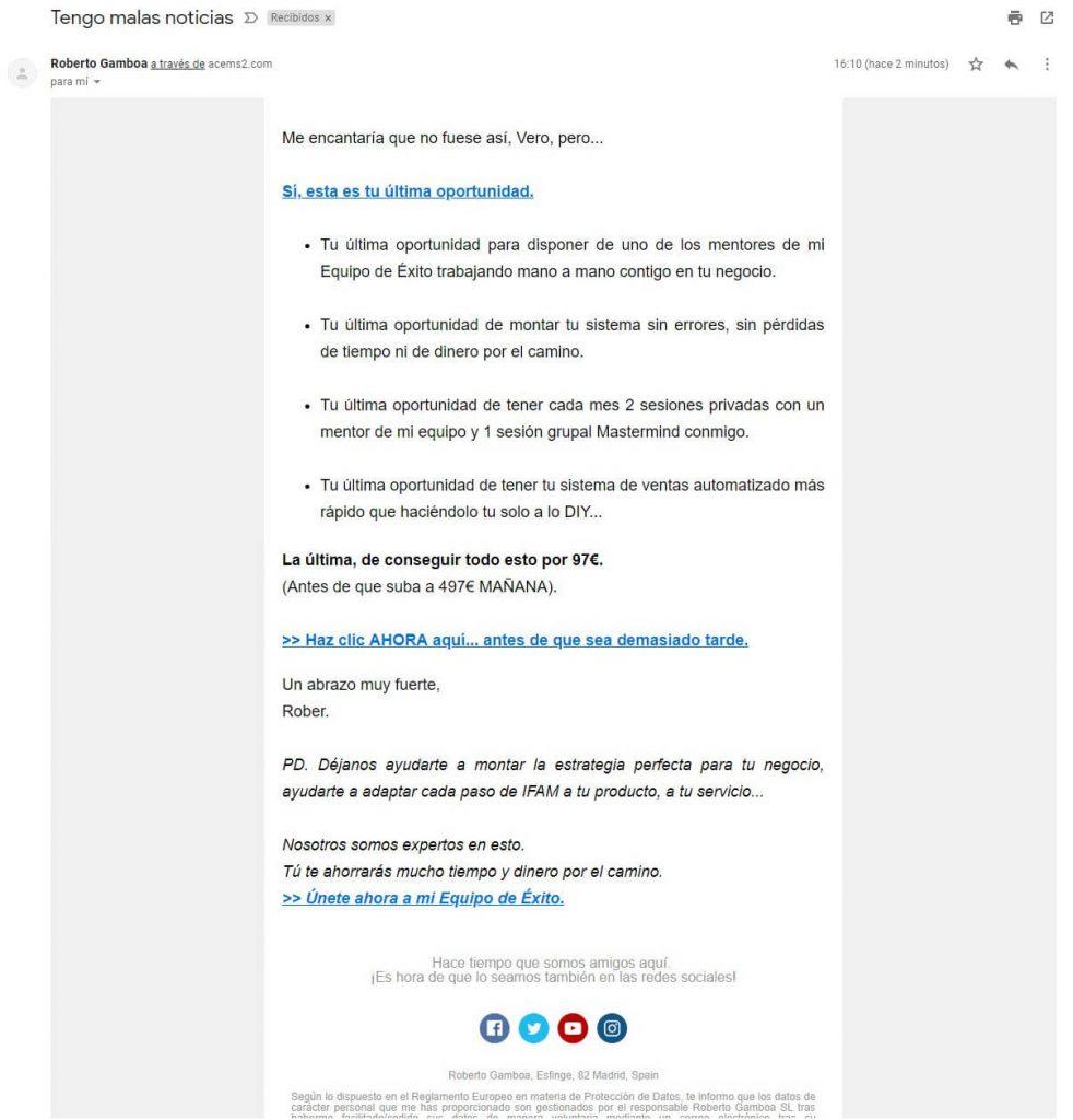 Último email de la fase 3 dentro de la estrategia de email marketing