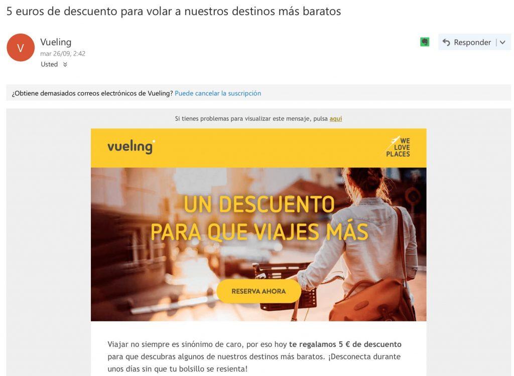 Ejemplo de Vueling sobre estrategia de email marketing