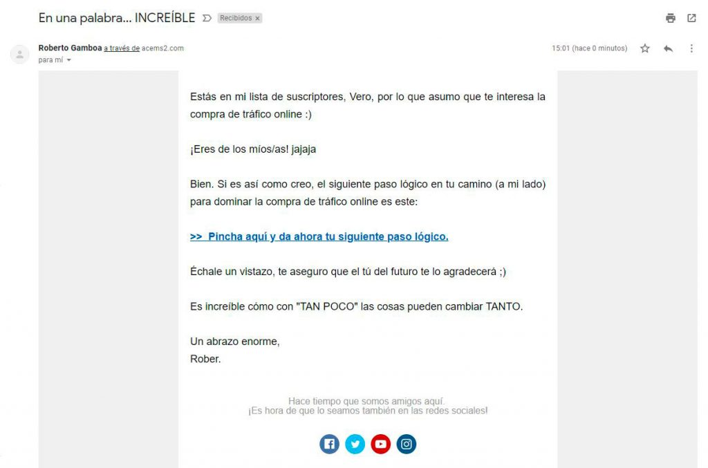 Email ciego de la estrategia de email marketing