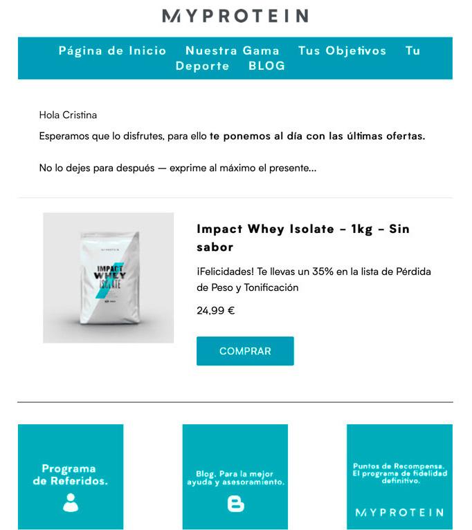 Ejemplo de estrategia de email marketing de MyProtein